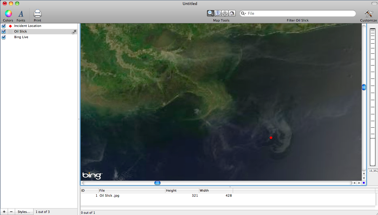 Georeferenced Image of Oil Slick