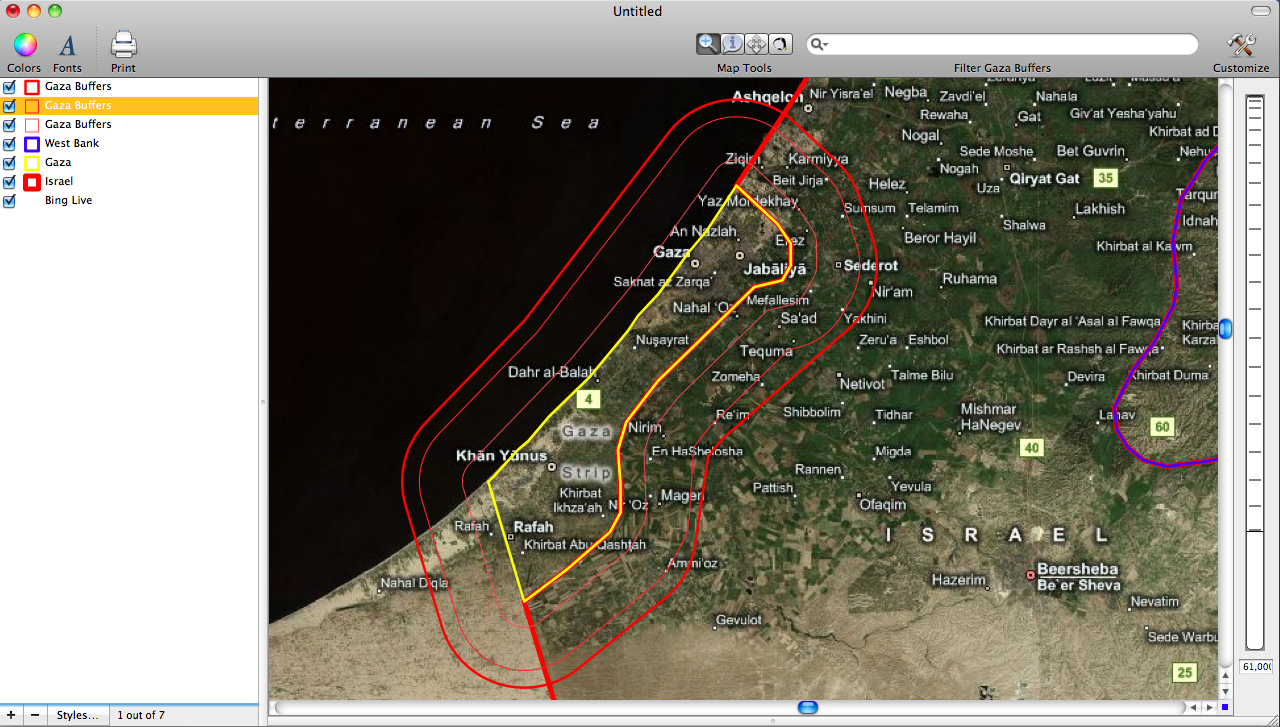 Areas at Risk of Attack in Israel