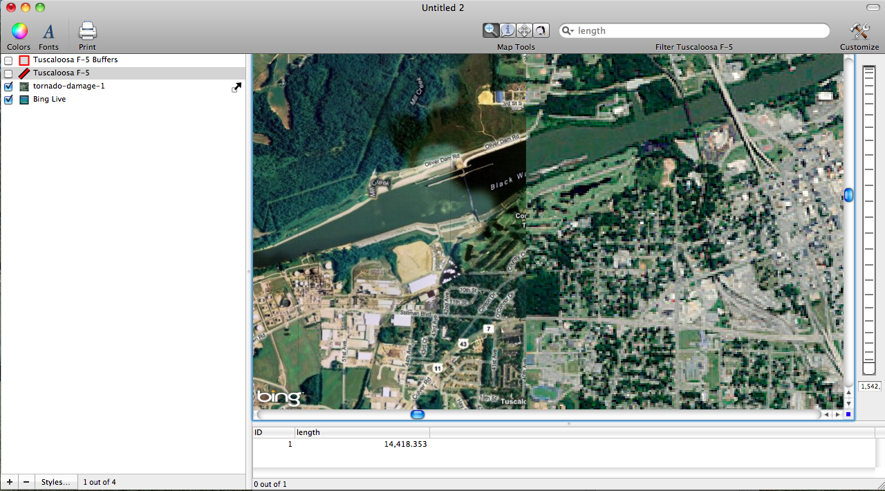 Showing agreement between Bing Map and Georeferenced Tornado Image