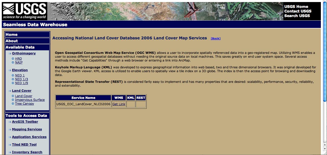 """USGS Window """"Get Link"""""""
