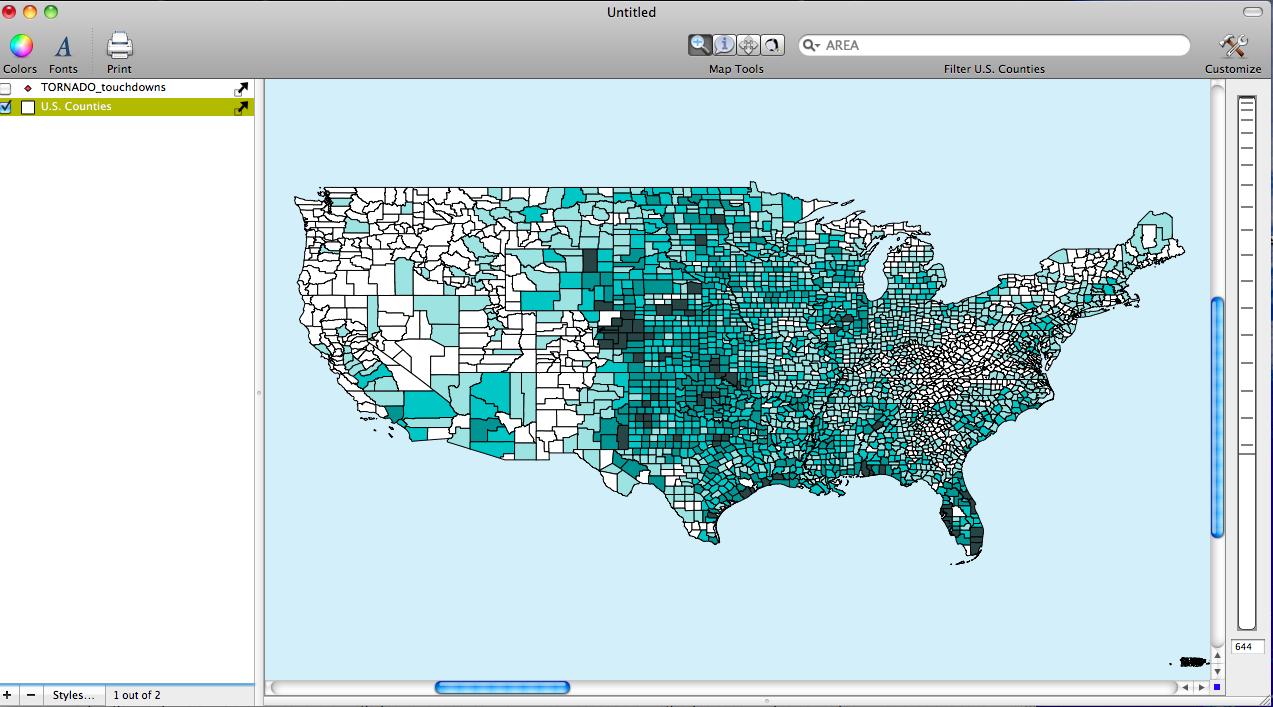Tornadoes in U.S. Counties