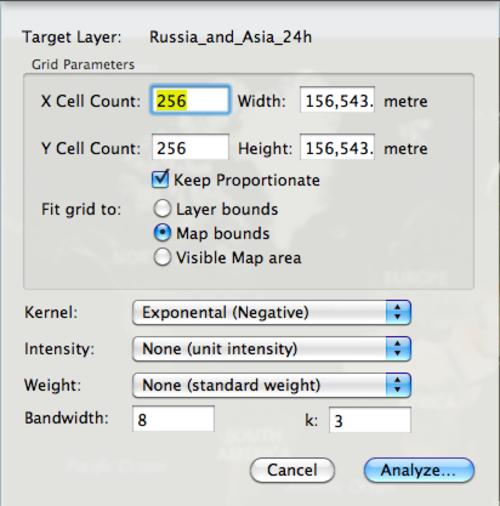 Kernel Density settings