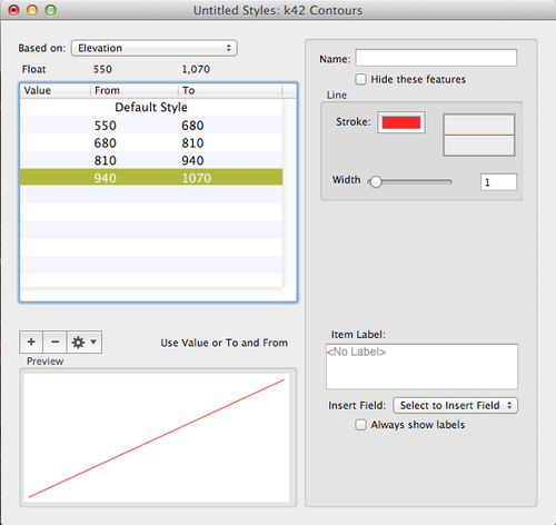 Layer Styles window with Elevations