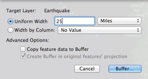 buffers with Uniform Width distance to 25 Miles